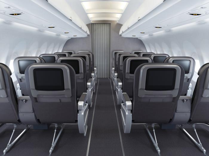 La configuration en 2-2 est l'apanage de la Domestic First des compagnies américaines.